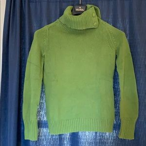 Green knit cowlneck sweater